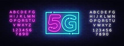 ny trådlös för wifianslutning för internet 5G vektor för tecken för neon för mallneon för design 5G tecken, ljust baner, neonskyl vektor illustrationer