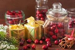 Ny tranbär i exponeringsglaskrus, vintergarnering och gåvor Arkivbild