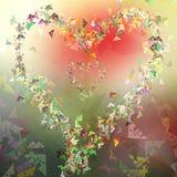 Ny triangulär formvykort för abstrakt hjärta, färgrik bakgrund stock illustrationer