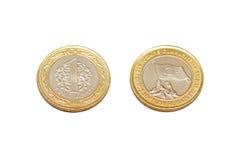 Ny turk 1 Lira mynt på vit bakgrund Royaltyfri Fotografi