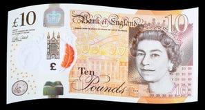 Ny UK-polymer tio pund anmärkning Arkivfoto