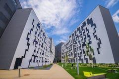 Ny universitetsområde WU, Wien universitet av nationalekonomi och affären Arkivfoto