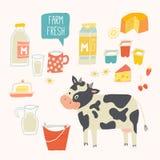 Ny uppsättning för lantgård Kon och produkter - mjölka, yoghurten, ost, smör, milkshake Vektorillustration, på vit Arkivbilder