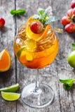 Ny vändkretscoctail med mintkaramellen, apelsinen och limefrukt i högväxt exponeringsglas på träbakgrund Sommardrinkar fotografering för bildbyråer