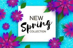 Ny vårsamling Pappers- snittblomma 8 mars Kvinnors kort för daghälsningar Blom- bukett för origami Fyrkantig ram text stock illustrationer