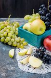 Ny vald äpplen och druvor och fruktpastill på mörk backg arkivbilder