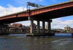 NY van Albany van over Hudson River in Rensselaer Royalty-vrije Stock Foto