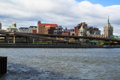 NY van Albany van over Hudson River in Rensselaer Stock Foto