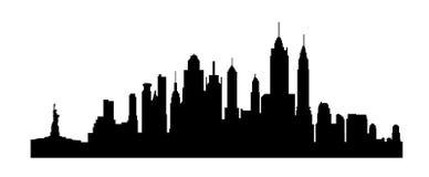 NY van New York het silhouet van stadsgebouwen Stock Foto