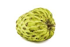 Ny vaniljsås Apple eller mogna Sugar Apple Fruit Annona, sweetsop på vit bakgrund på med den snabba banan/brunn-filialen Arkivfoton