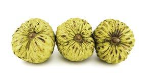 Ny vaniljsås Apple eller mogna Sugar Apple Fruit Annona, sweetsop som isoleras på vit bakgrund på med den snabba banan/brunn-fili Royaltyfri Bild