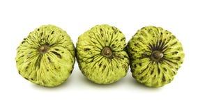 Ny vaniljsås Apple eller mogna Sugar Apple Fruit Annona, sweetsop som isoleras på vit bakgrund på med den snabba banan/brunn-fili Royaltyfri Foto