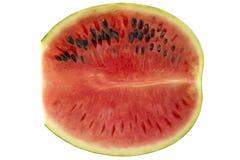 Ny vattenmelonskiva som isoleras på vit Arkivfoton