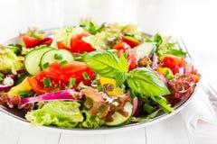 Ny vegetarisk grönsaksallad med tomaten, löken, gurkan, peppar, basilika och grönsallat plate sallad Arkivbilder