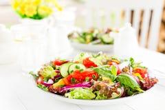 Ny vegetarisk grönsaksallad med tomaten, löken, gurkan, peppar, basilika och grönsallat plate sallad Royaltyfri Fotografi