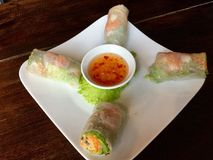 Ny vietnamesisk vår Rolls med en kryddig söt sås Royaltyfri Fotografi