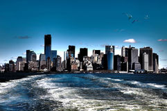 NY view. An HDR photo of Manhattan from a ferry Stock Image