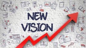 Ny vision som dras på vita Brickwall 3d Royaltyfria Bilder