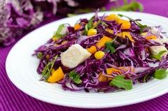 Ny vitaminkonditionsallad av röd kål, spanska peppar, havre, arugula Strikt vegetarian bantar Fotografering för Bildbyråer