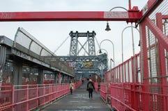 ny walkway williamsburg york för brostad Fotografering för Bildbyråer