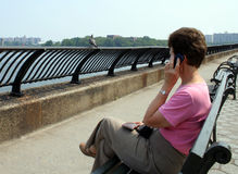 NY Woman on Mobile Phone Royalty Free Stock Photography