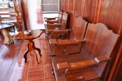 Ny Wood stol inställda Thailand Arkivbilder
