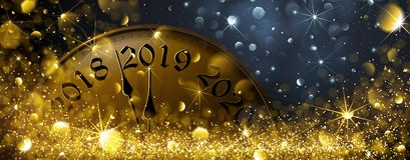 Ny Year' s-helgdagsafton 2019 vektor illustrationer