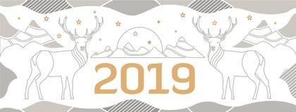 Ny Year' s-räkning för en plats med hjortar, berg och numret 2018 som dras av tunna linjer royaltyfri illustrationer