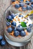 Ny yoghurt i ett exponeringsglas med hela lin och blåbär på trä arkivbilder