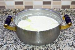 Ny yoghurt i exponeringsglasbunke arkivbilder
