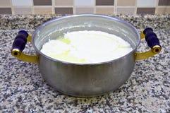 Ny yoghurt i exponeringsglasbunke royaltyfri foto