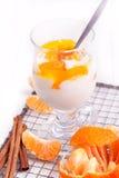 Ny yoghurt med mandarinen Royaltyfria Bilder