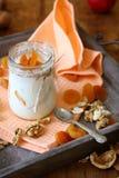 Ny yoghurt med stycken av aprikons arkivbilder