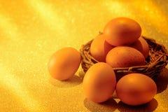 Nya ägg på guld- ljus av guld- bokehbakgrund Guld- H Royaltyfri Bild