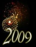nya år 2009 för bakgrundshelgdagsaftonfyrverkerier Royaltyfria Foton