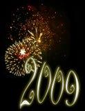 nya år 2009 för bakgrundshelgdagsaftonfyrverkerier Fotografering för Bildbyråer