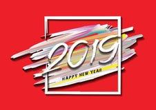 2019 nya år av ett färgrikt penseldrag med ramen, kortdesign för lyckligt nytt år, rengöringsdukbanermall, affisch, vykort stock illustrationer