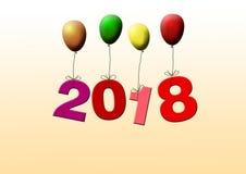 Nya år daterar 2018 som flyger med färgrika ballonger royaltyfri illustrationer