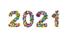 2021 nya år datum i mångfärgade runda bollar Arkivfoton