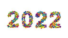 2022 nya år datumdesign av färgrika sfärer Arkivbilder