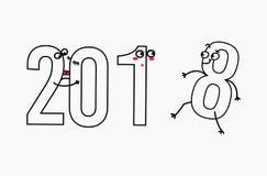 2018 nya år för hälsningkort Royaltyfri Fotografi