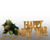 nya år för helgdagsaftonillustrationinbjudan Arkivfoton