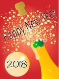 Nya år 2018 flaska Arkivbild