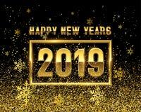 Nya år GULD 2019 på svart bakgrund royaltyfri illustrationer