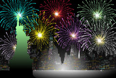Nya år helgdagsafton i New York - vektor stock illustrationer