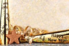 Nya år helgdagsaftongräns med att blinka ljus bakgrund Arkivbilder
