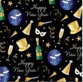 Nya år helgdagsaftonmodell med bästa hattar, champagnemaskeringar och konfettier stock illustrationer