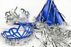 Nya år helgdagsaftonpartitillförsel på en vit bakgrund Arkivfoto