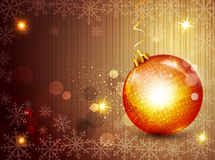 Nya år helgdagsaftonvektorbakgrund med bollen Arkivfoton