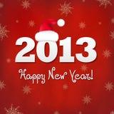 Nya år kort med den röda Santa hatten Royaltyfria Bilder